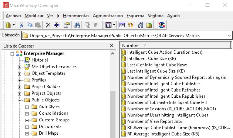 Indicadores de cubos inteligentes en Enterprise Manager