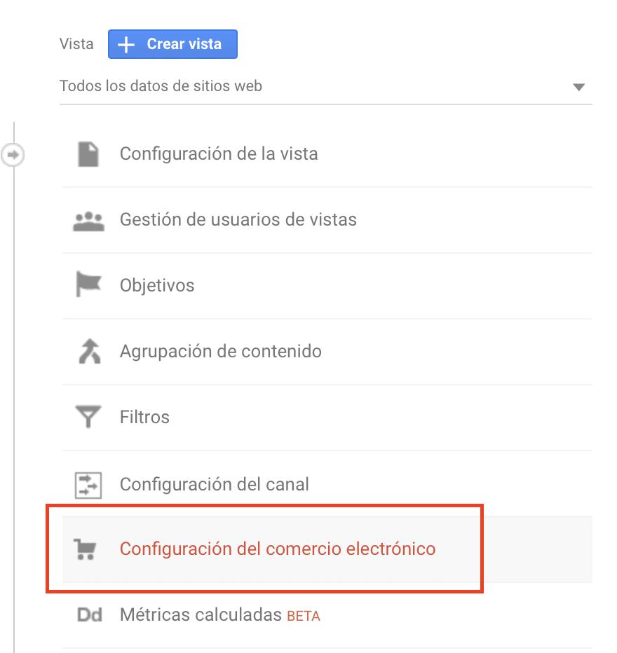 Google Analytics - Configuración del comercio electronico