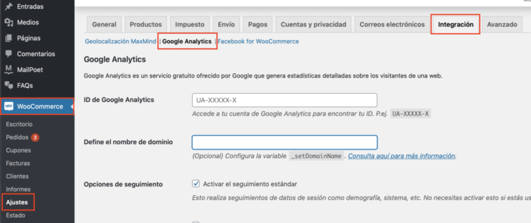 Sincronizar WooCommerce y Google Analytics