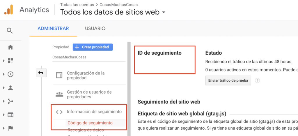 Google Analytics - ID Seguimiento