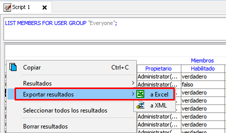 exportar resultados microstrategy command manager