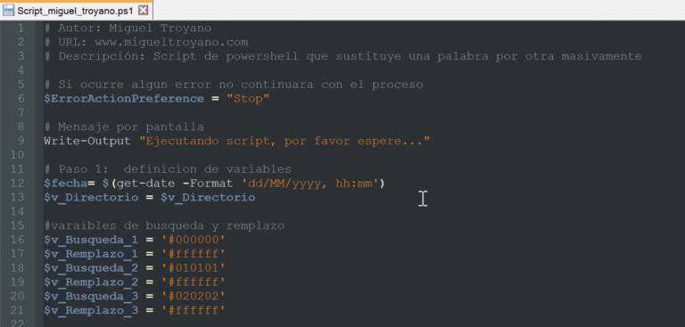 Buscar y remplazar palabras en ficheros recursivamente con PowerShell
