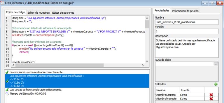 Listar informes con propiedades VLDB modificadas en Command Manager