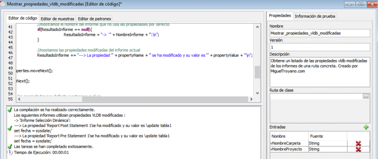 Mostrar propiedades VLDB modificadas de informes en Command Manager