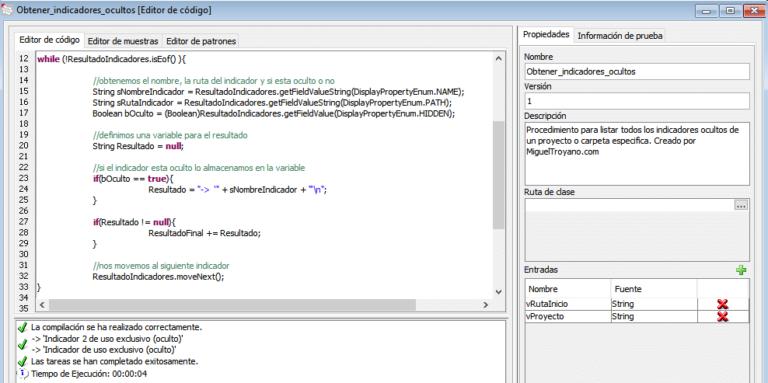 Listar indicadores o atributos ocultos en Command Manager