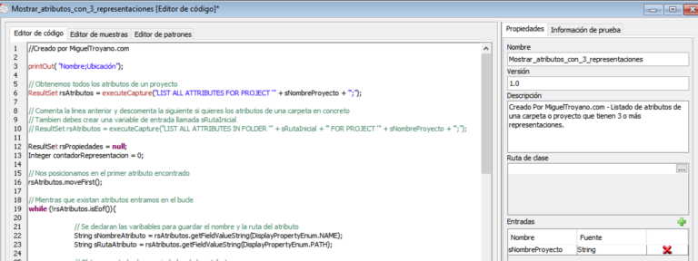 Procedimiento para mostrar atributos con más de 2 representaciones en Command Manager