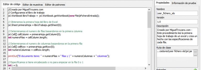 Procedimiento para leer un fichero xls y usar sus valores en Command Manager