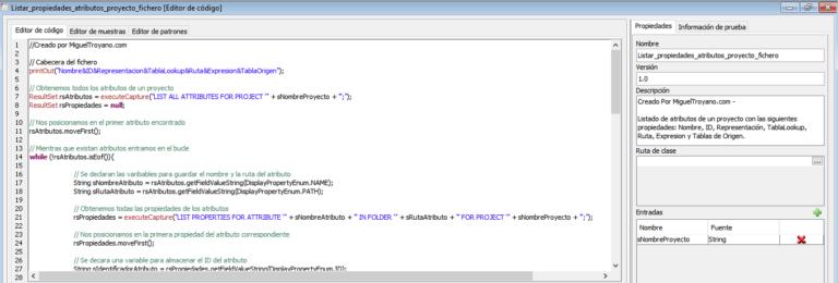 Obtener lista de atributos y sus características con Command Manager e importarlo en Excel