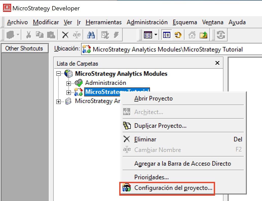 MicroStrategy configuración del proyecto
