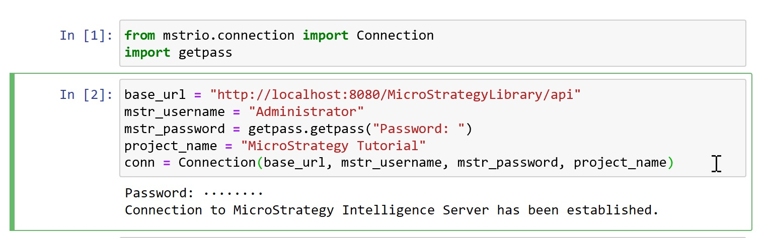 MicroStrategy mstrio - connection python