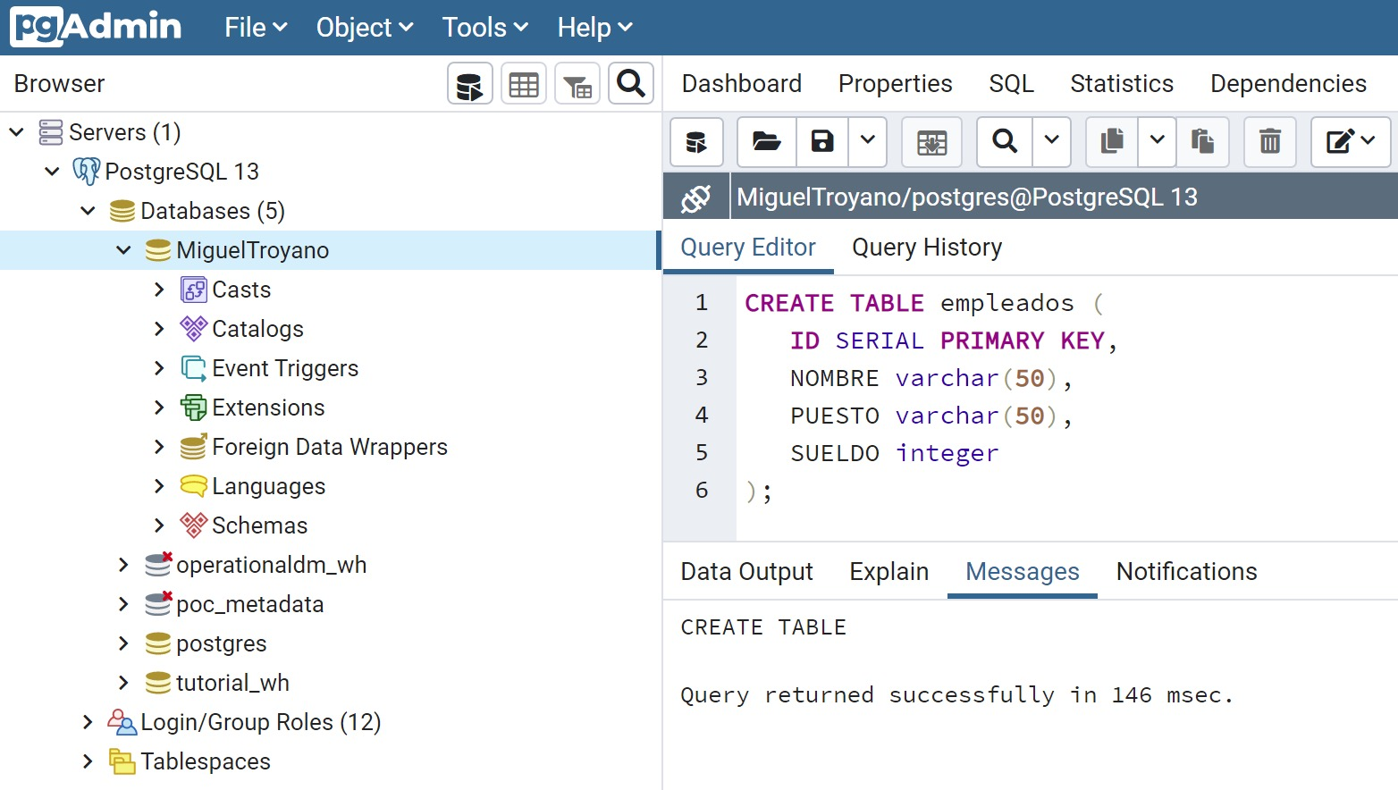 PostgreSQL create table