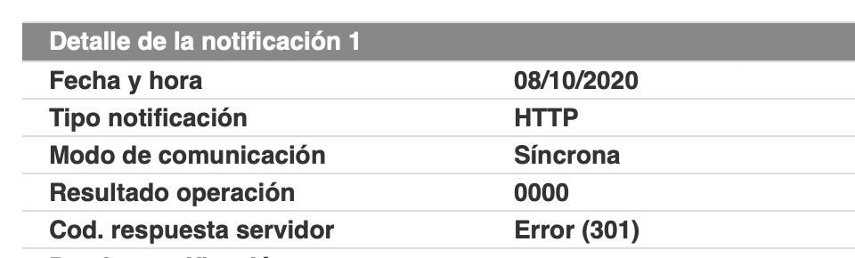 Woocommerce error 301 Redsys pedido en espera