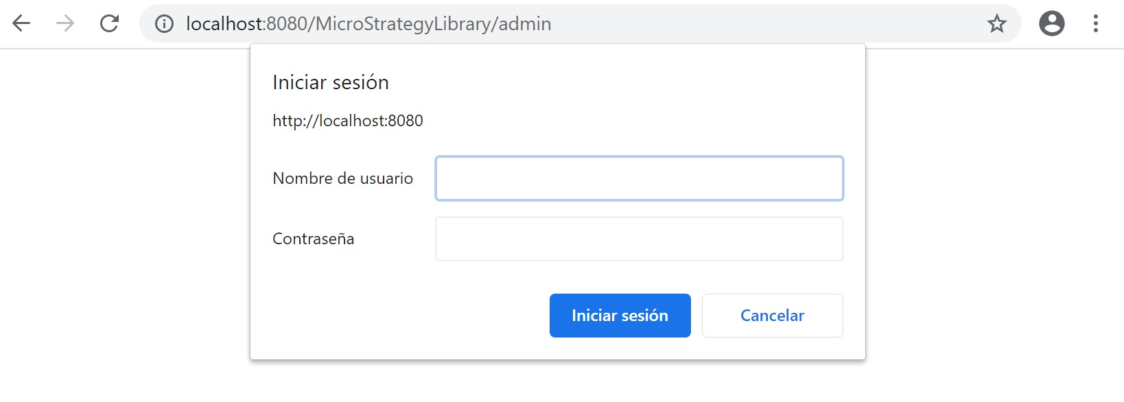 MicroStrategy Error inicio sesión Library Admin