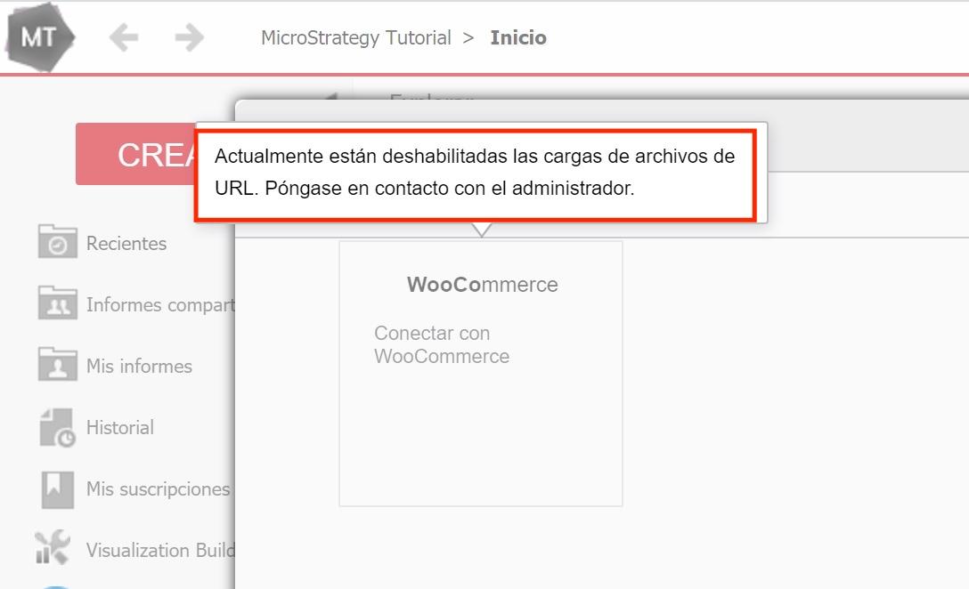 MicroStrategy habilitar carga archivos url