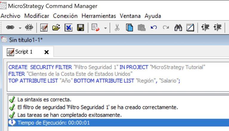 Gestionar filtros de seguridad con MicroStrategy Command Manager