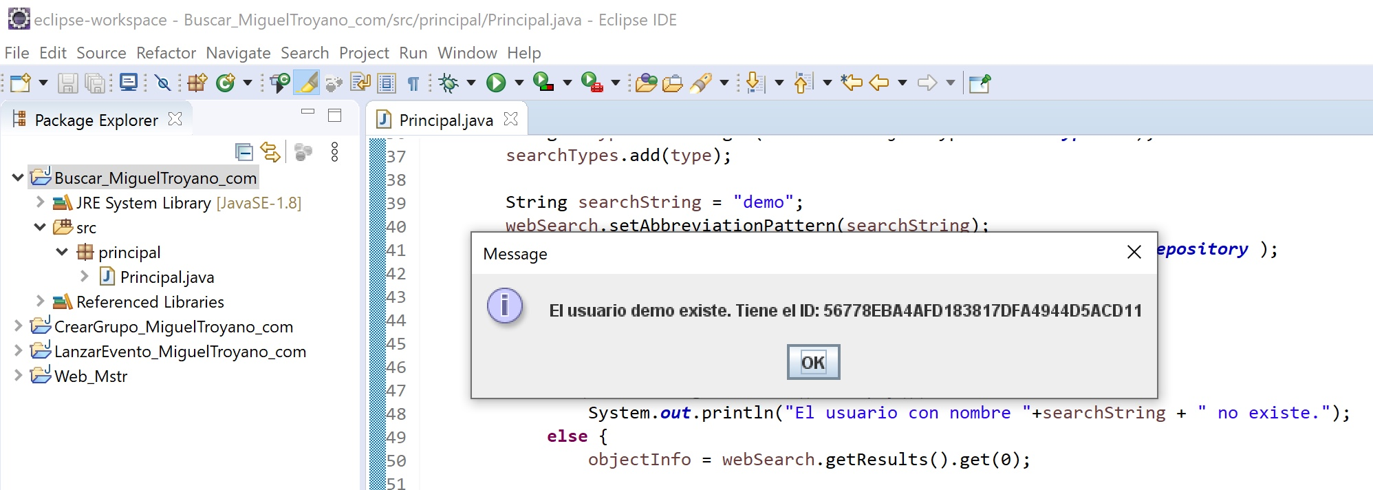 MicroStrategy Java buscar usuario