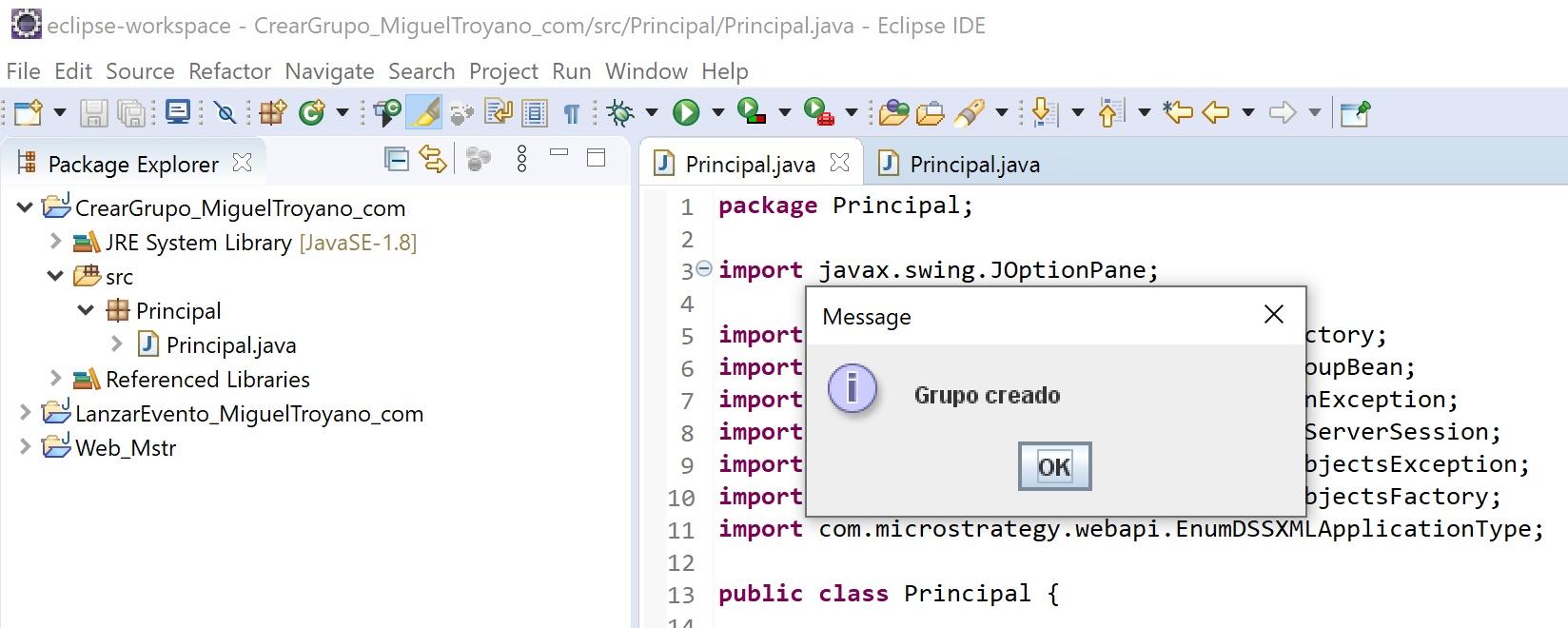 MicroStrategy Java crear grupo