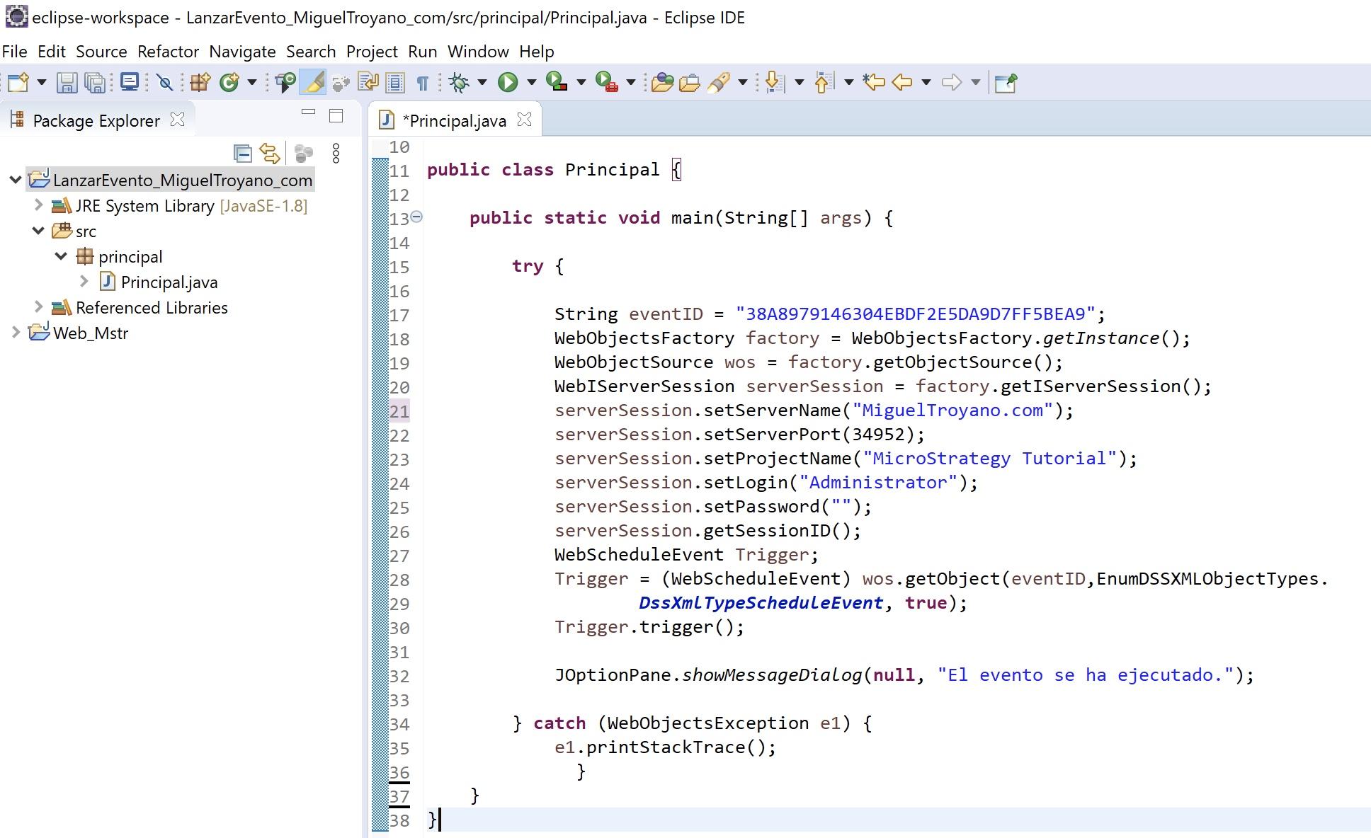 MicroStrategy Java lanzar evento