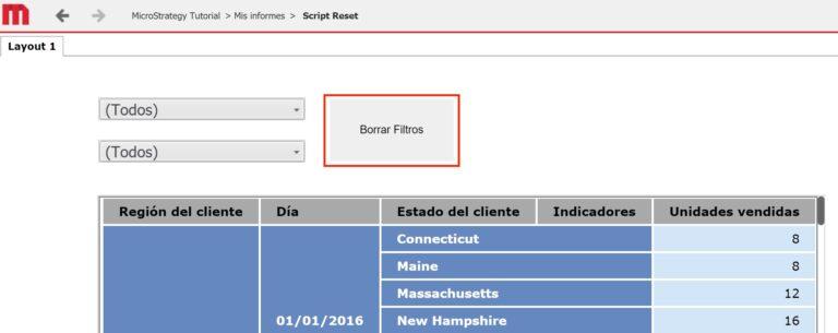 Botón para restablecer los selectores de un documento en MicroStrategy