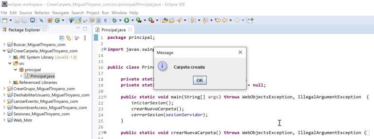 Crear una carpeta en MicroStrategy con Java