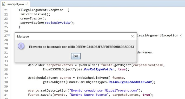 Crear un evento en MicroStrategy con Java