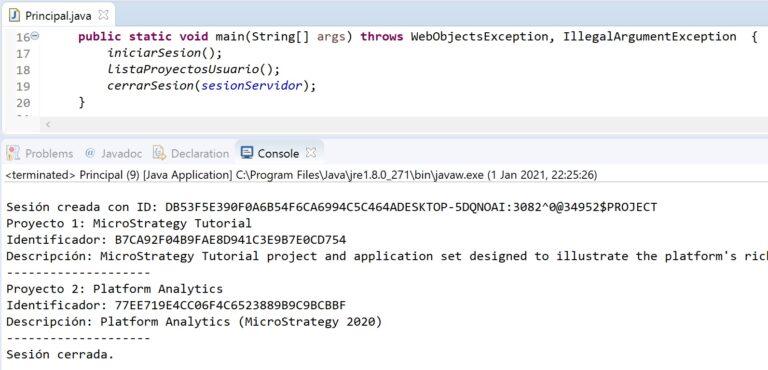 Recuperar lista de proyectos de un usuario en MicroStrategy con Java