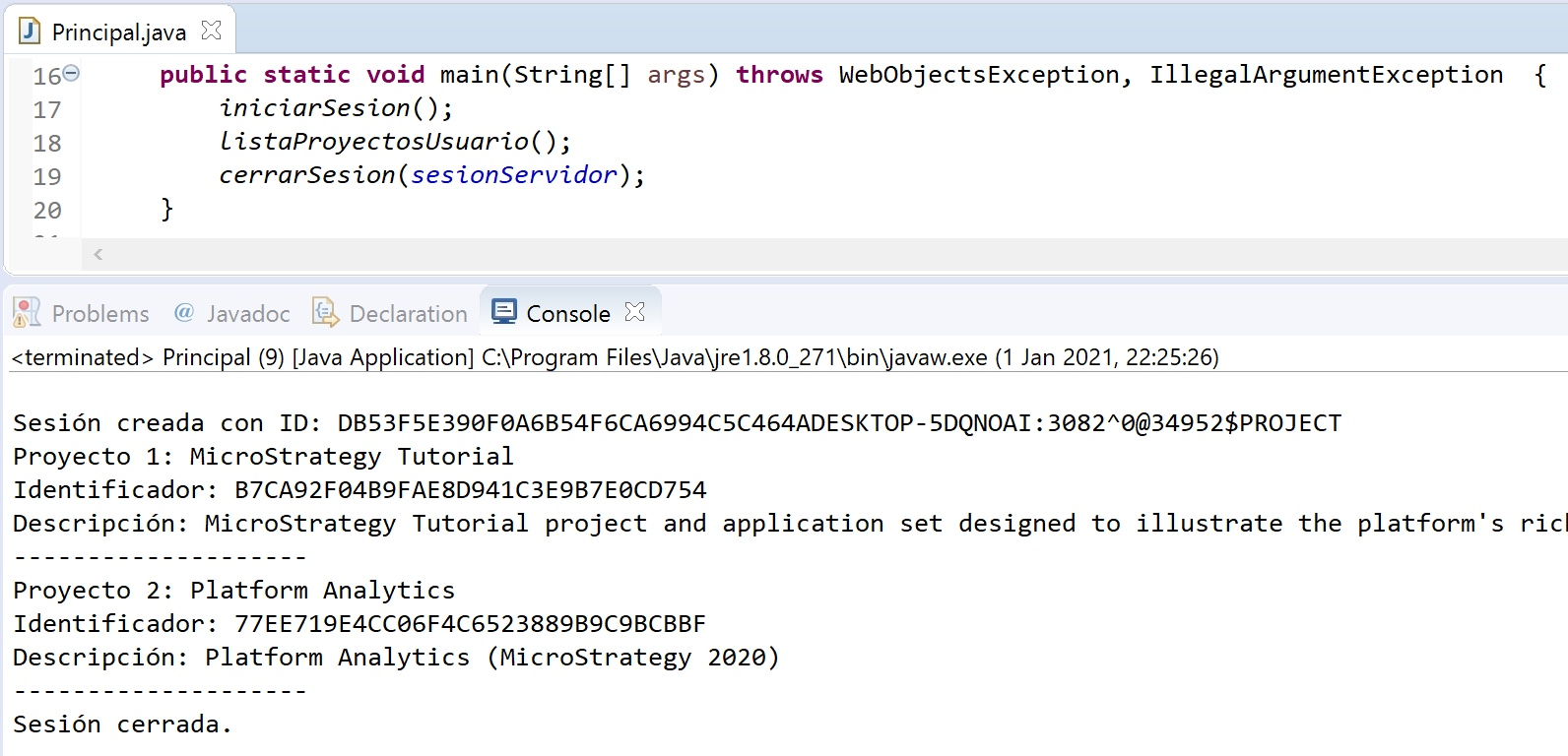 MicroStrategy Java listar proyecto