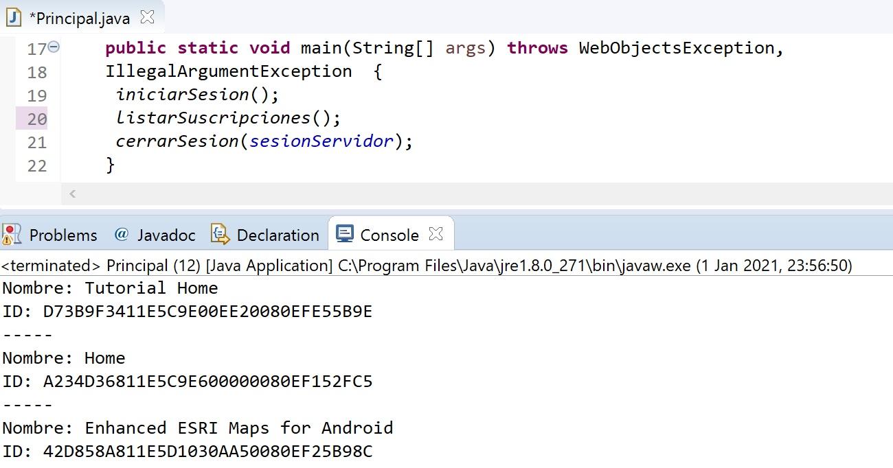 MicroStrategy Java listar suscripciones