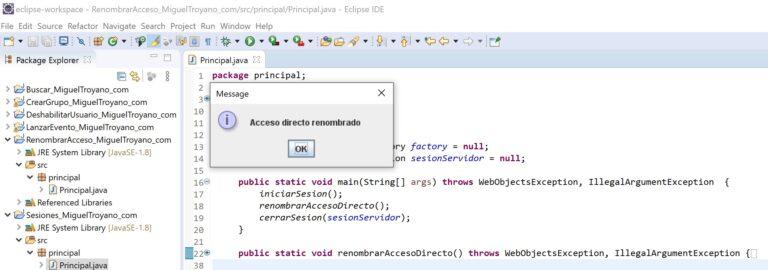 Renombrar un acceso directo en MicroStrategy con Java