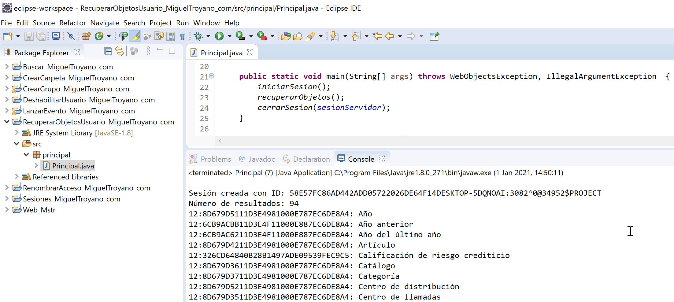 MicroStrategy Java recuperar objetos