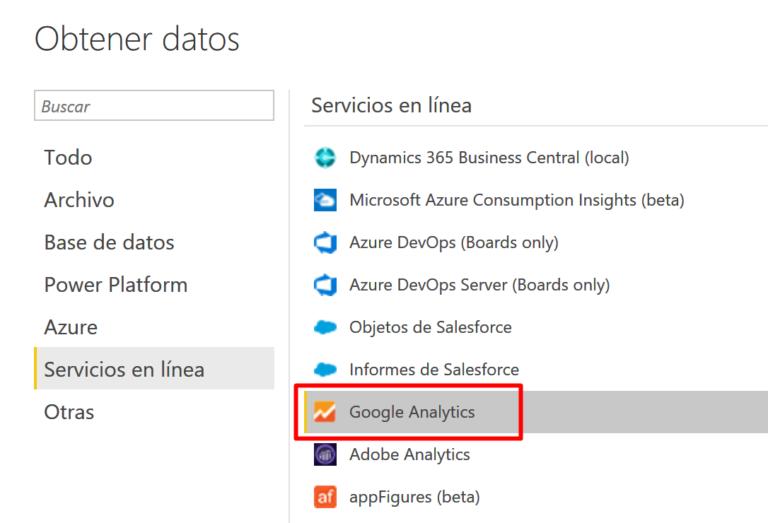 Importar datos de Google Analytics en Power BI Desktop