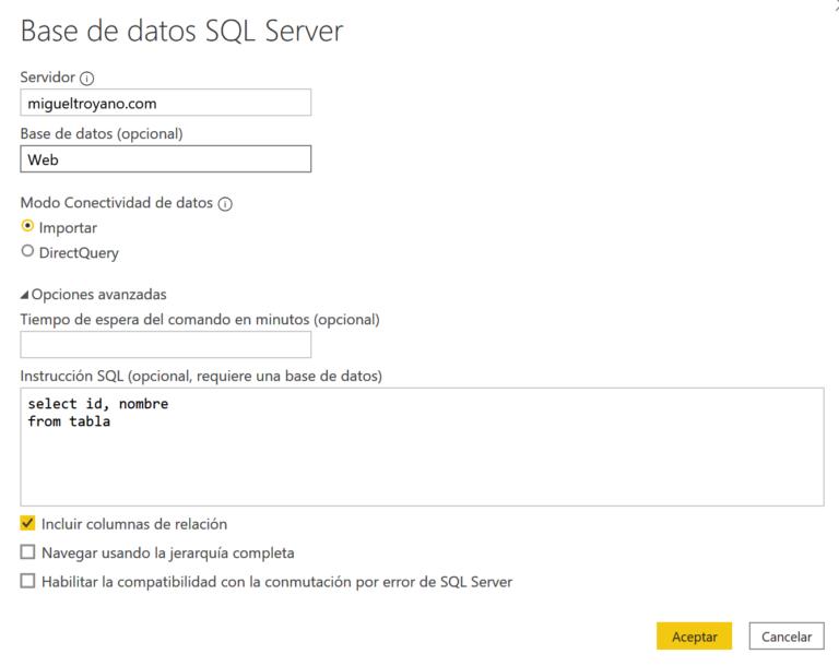 Obtener datos relacionales en Power BI Desktop