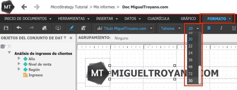 Incluir nuevo tamaño de fuente en el formato de un documento de MicroStrategy