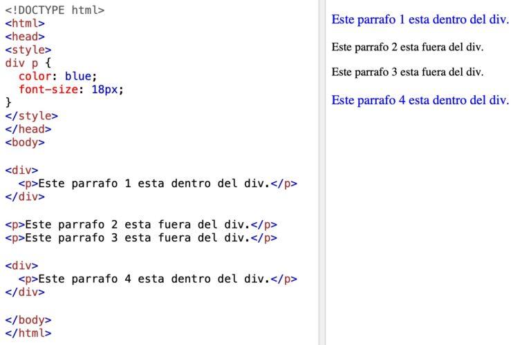 Selectores combinados en CSS