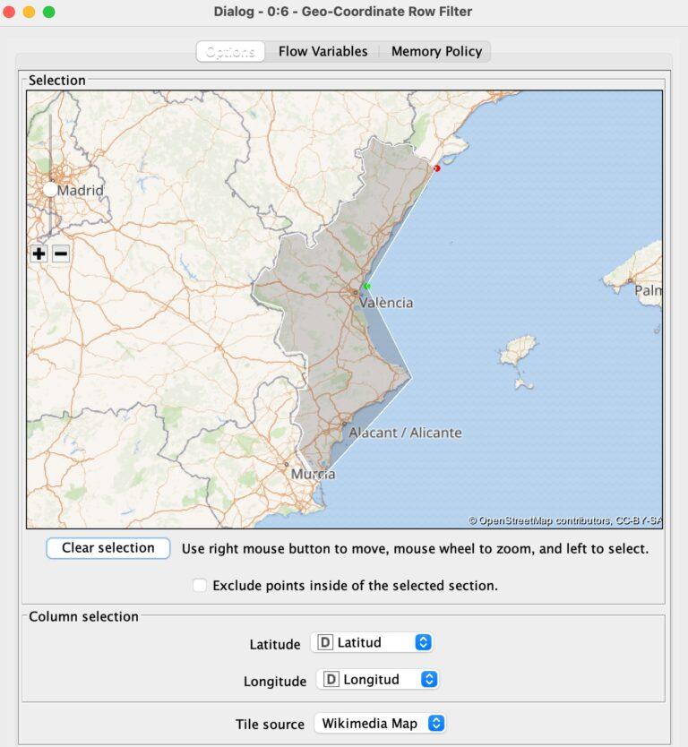 Filtrar la latitud y longitud sobre un mapa con KNIME