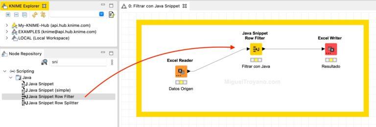 Filtrar filas utilizando código Java (snippet) con KNIME