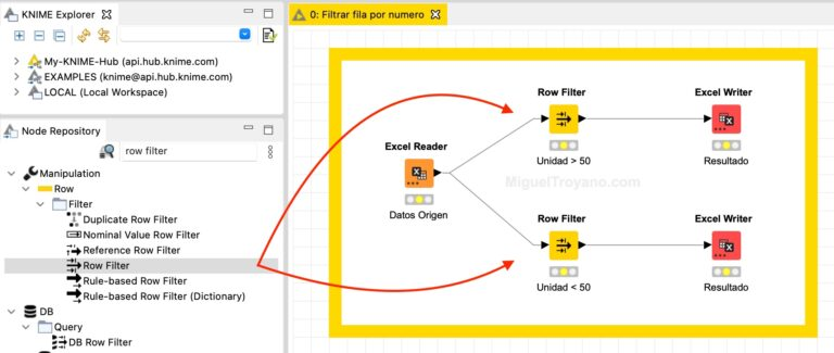 Filtrar filas por cantidades (row filter) con KNIME