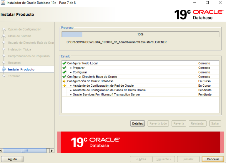 Instalación de Oracle 19c en Windows 10