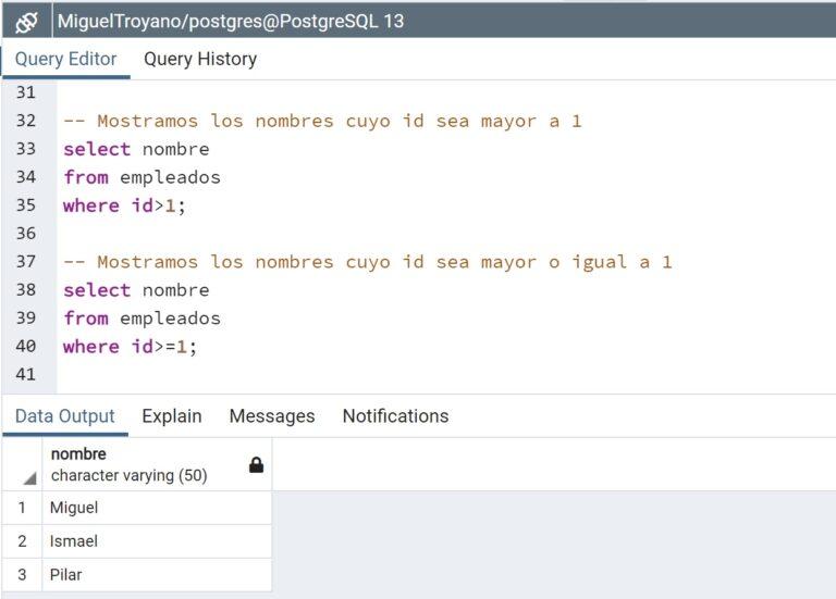 Operadores relacionales en PostgreSQL