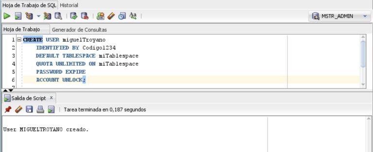 Sentencia para crear un usuario en Oracle