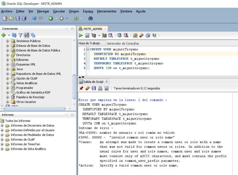 Solución ORA-65096: nombre de usuario o rol común no válido