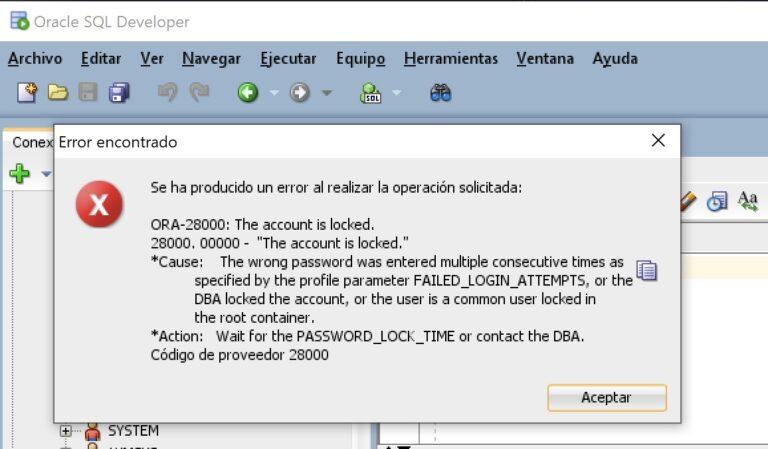 Solución ORA-28000 usuario bloqueado