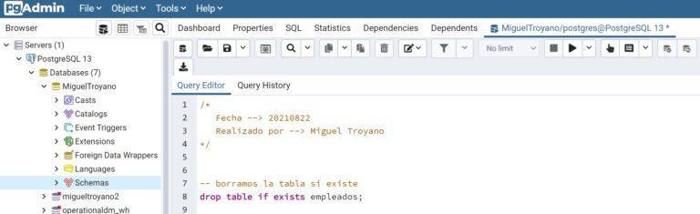 Escribir comentarios en PostgreSQL