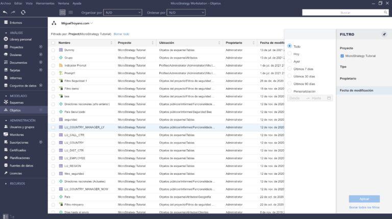 Navegar y buscar objetos de esquema en MicroStrategy Workstation