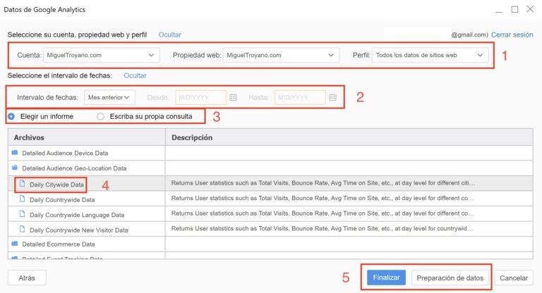 Importar datos de Google Analytics en MicroStrategy Workstation